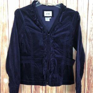 Live a Little Velour Velvet Ruffled Jacket (S)